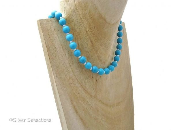Blue Turquoise Colour Howlite Beaded Fashion Necklace | Silver Sensations